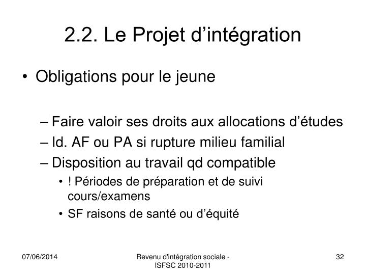 2.2. Le Projet d'intégration