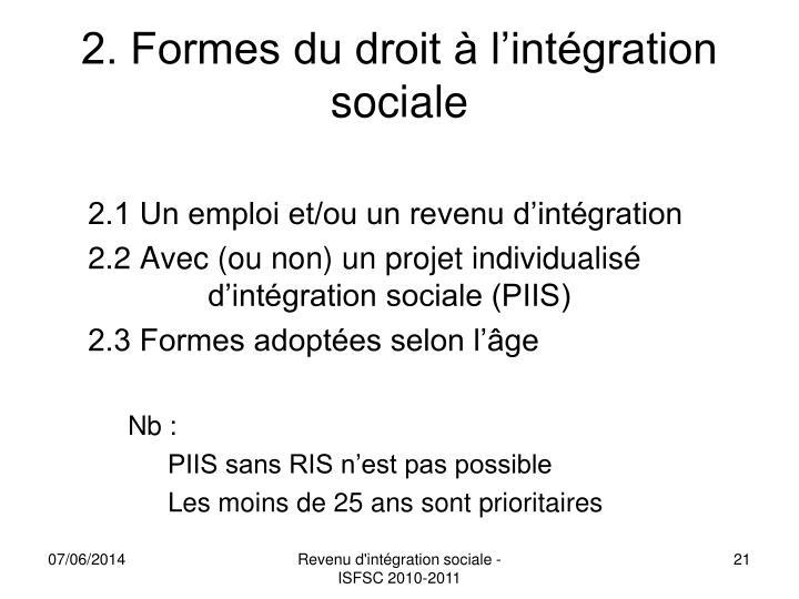 2. Formes du droit à l'intégration sociale
