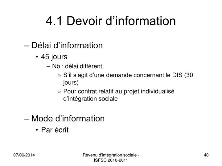 4.1 Devoir d'information