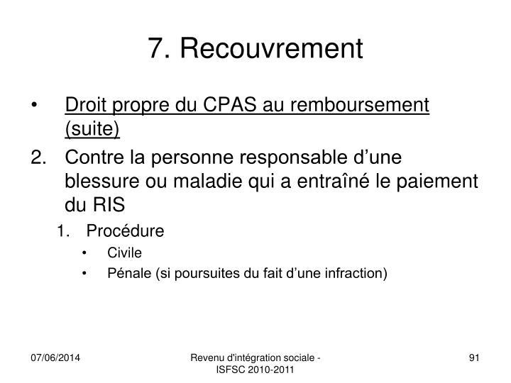 7. Recouvrement