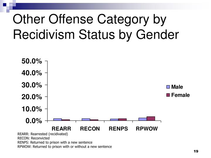 Other Offense Category by Recidivism Status by Gender