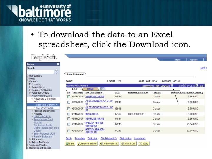 To download the data to an Excel spreadsheet, click the Download icon.