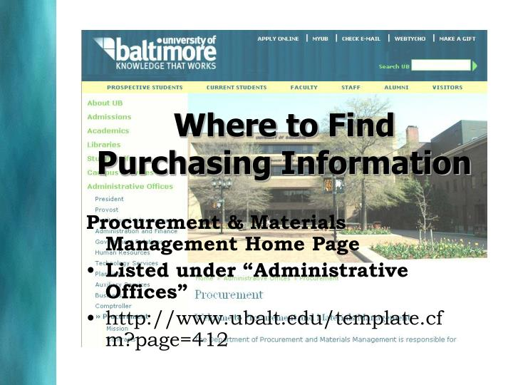 Where to Find Purchasing Information