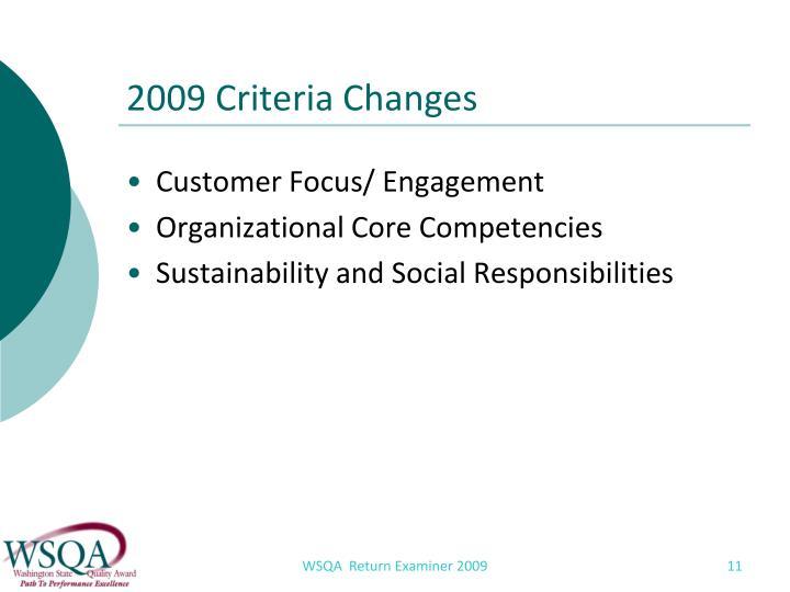 2009 Criteria Changes