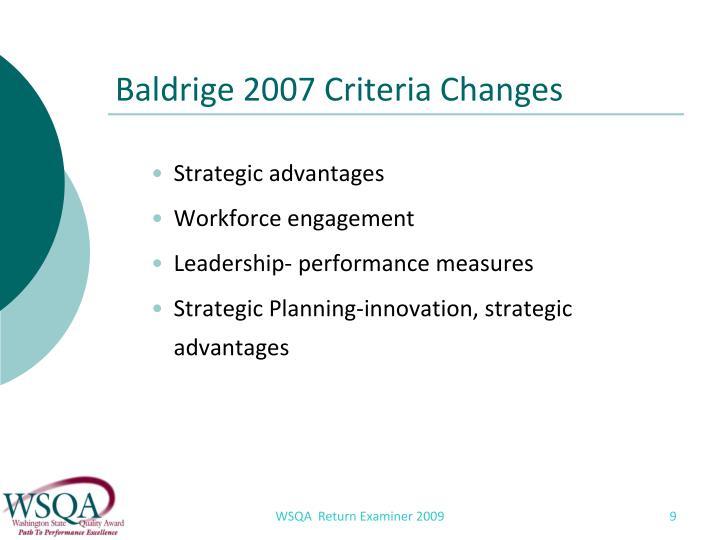 Baldrige 2007 Criteria Changes