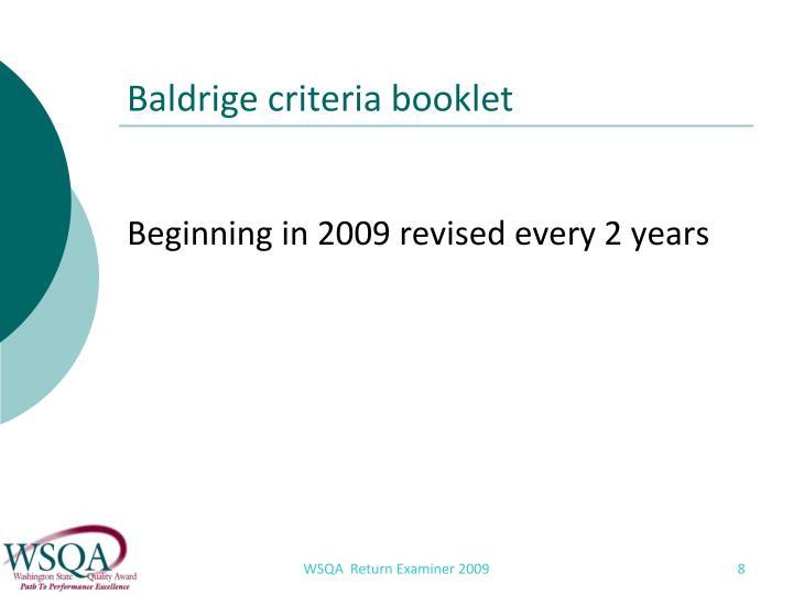 Baldrige criteria booklet
