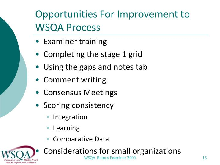 Opportunities For Improvement to WSQA Process