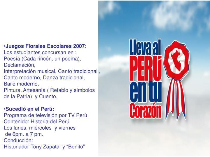 Juegos Florales Escolares 2007: