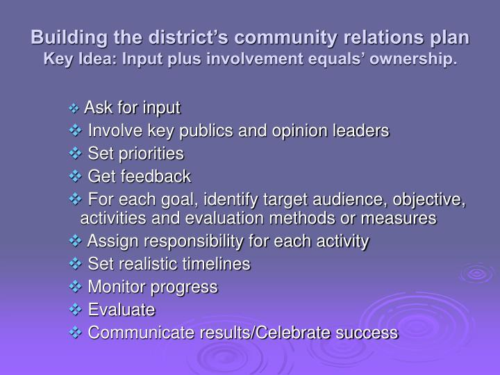Building the district's community relations plan