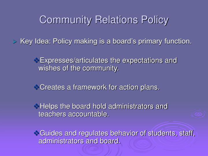 Community Relations Policy