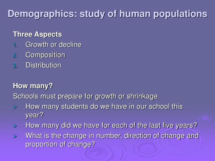 Demographics: study of human populations