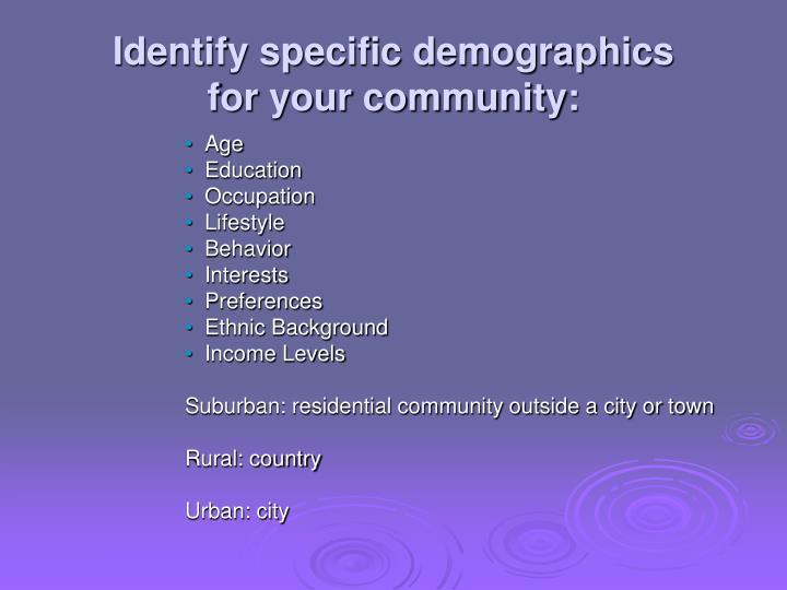 Identify specific demographics