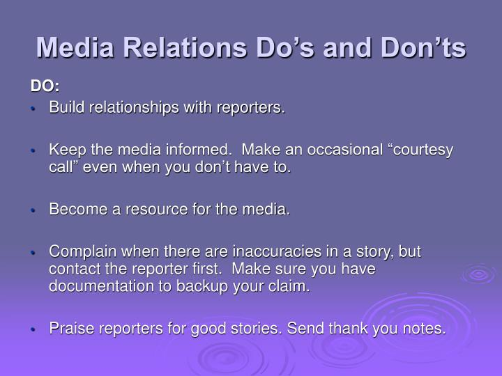 Media Relations Do's and Don'ts