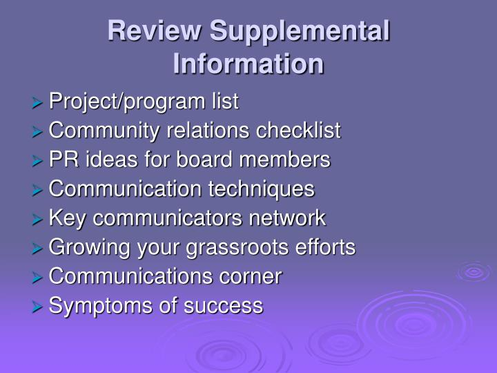 Review Supplemental Information