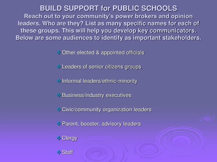 BUILD SUPPORT for PUBLIC SCHOOLS