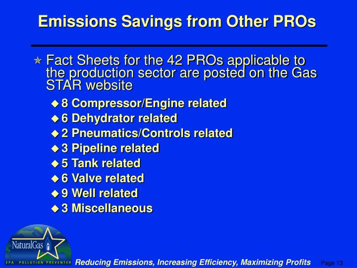 Emissions Savings from Other PROs