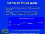 gas price and methane savings