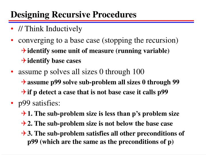 Designing Recursive Procedures