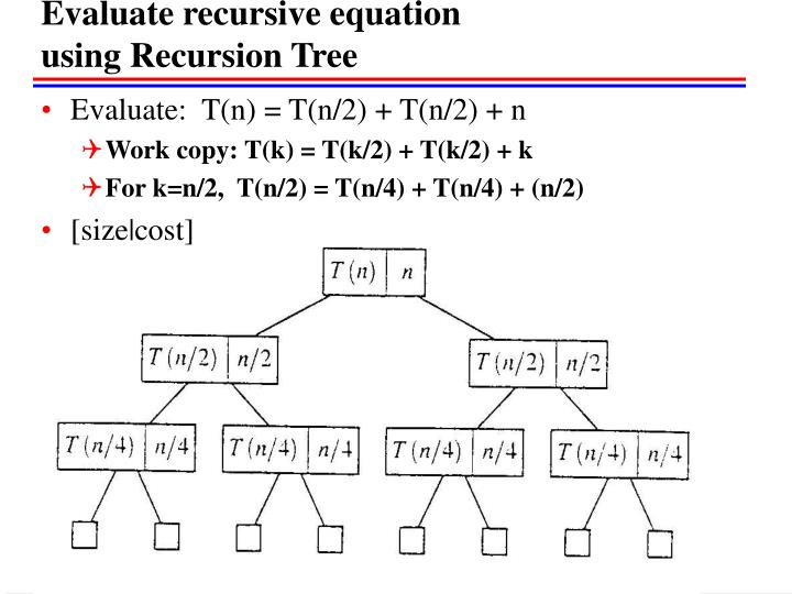 Evaluate recursive equation