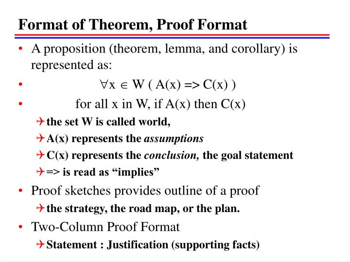 Format of Theorem, Proof Format
