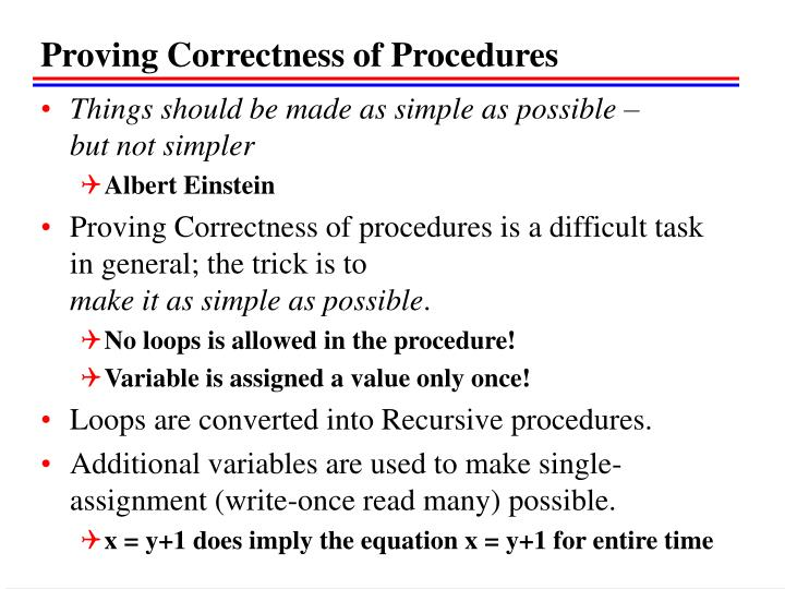 Proving Correctness of Procedures