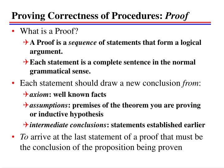 Proving Correctness of Procedures: