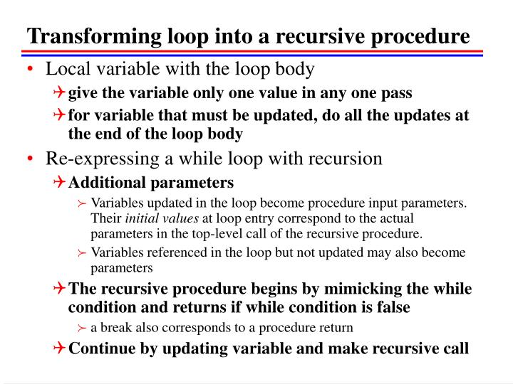 Transforming loop into a recursive procedure