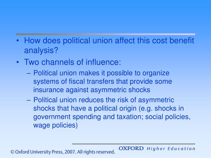 How does political union affect this cost benefit analysis?