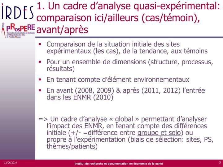 1. Un cadre d'analyse quasi-expérimental:  comparaison ici/ailleurs (cas/témoin), avant/après