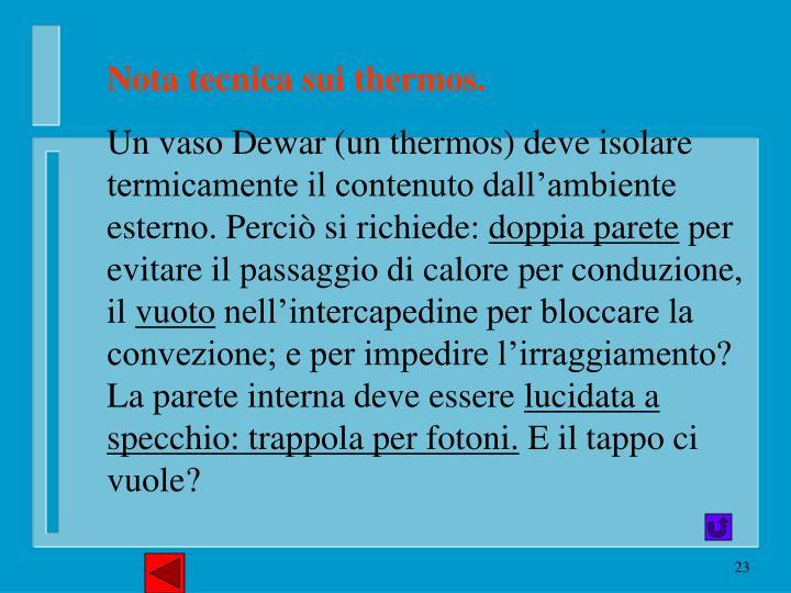 Nota tecnica sui thermos.