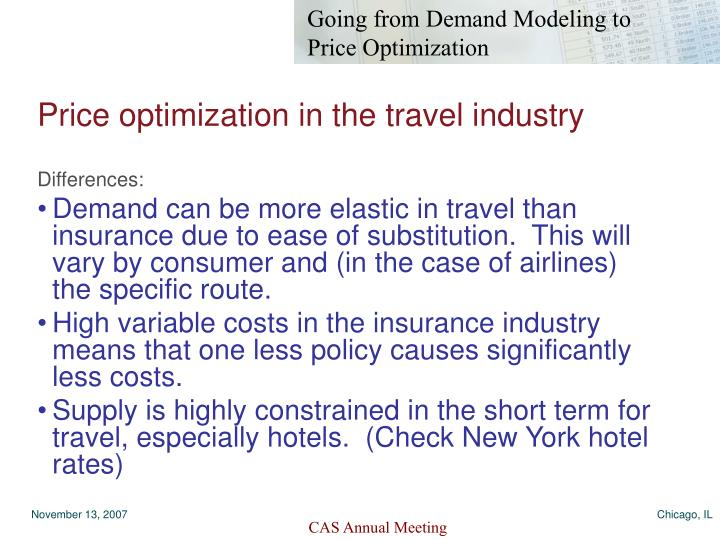 Price optimization in the travel industry