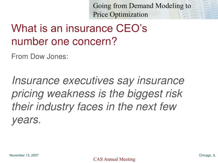 What is an insurance CEO's number one concern?