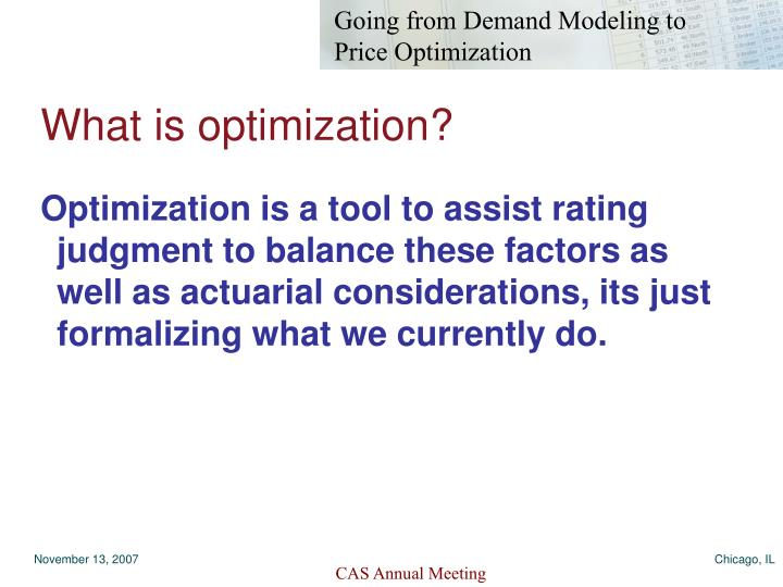 What is optimization?