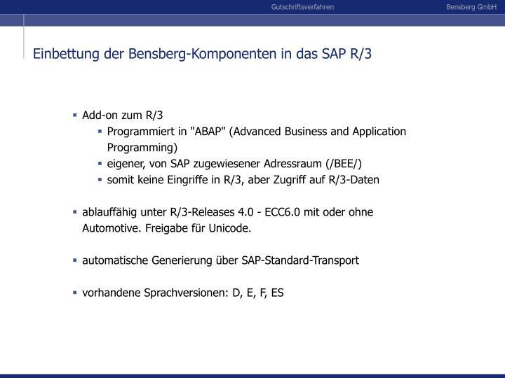 Einbettung der Bensberg-Komponenten in das SAP R/3