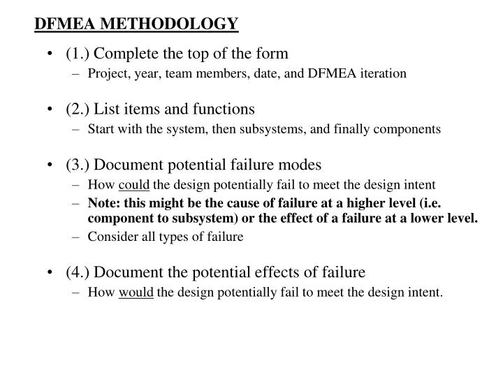DFMEA METHODOLOGY