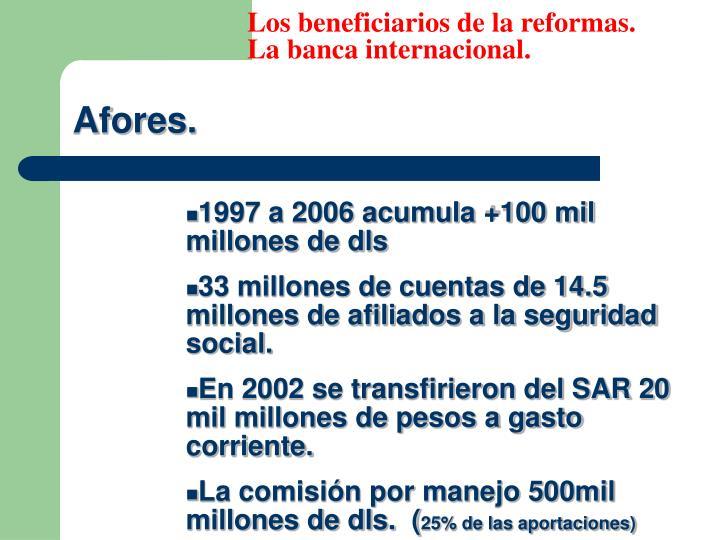 Los beneficiarios de la reformas.