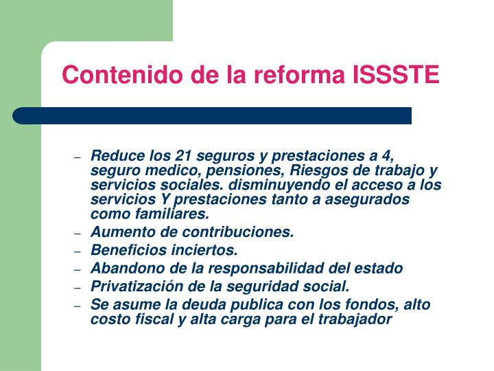 Contenido de la reforma ISSSTE