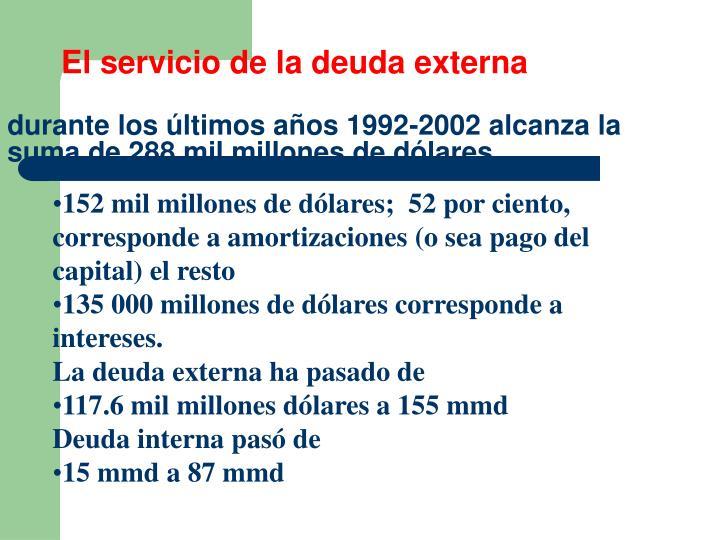 El servicio de la deuda externa