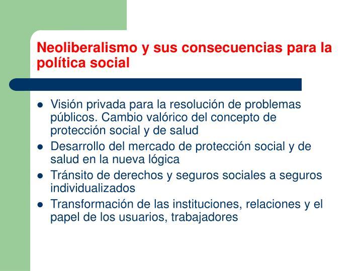 Neoliberalismo y sus consecuencias para la política social