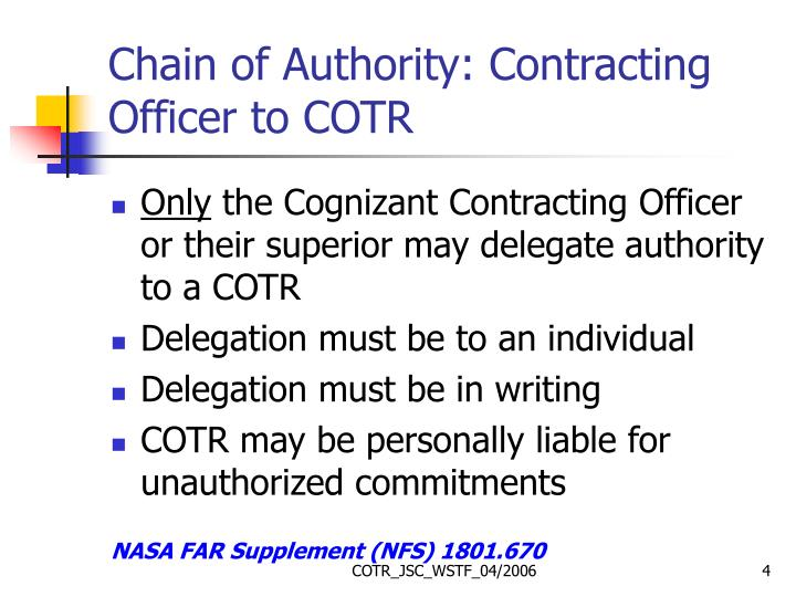 Chain of Authority: Contracting Officer to COTR