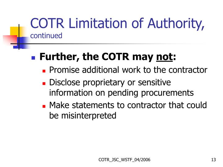 COTR Limitation of Authority,