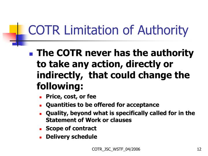 COTR Limitation of Authority