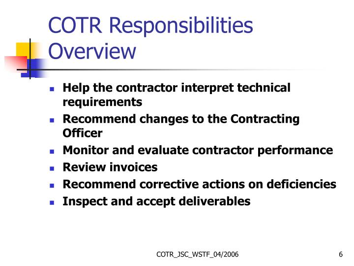 COTR Responsibilities Overview