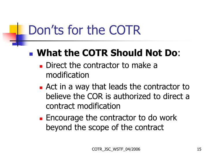 Don'ts for the COTR