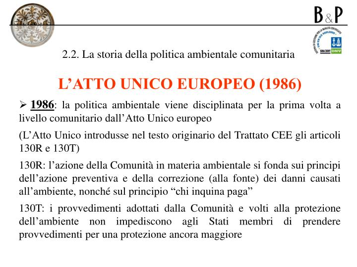 2.2. La storia della politica ambientale comunitaria