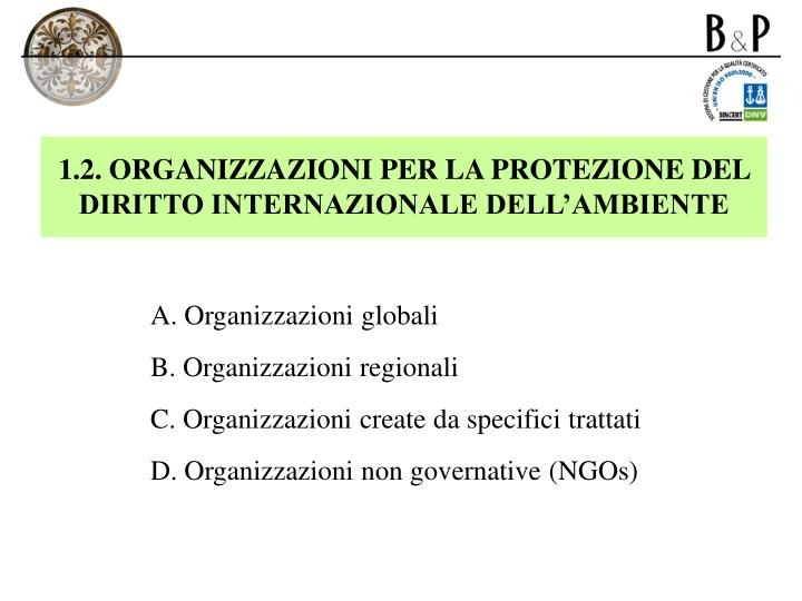 1.2. ORGANIZZAZIONI PER LA PROTEZIONE DEL DIRITTO INTERNAZIONALE DELL'AMBIENTE