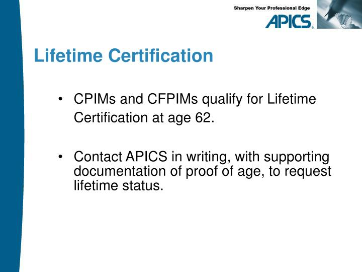 Lifetime Certification