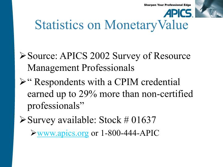 Statistics on monetaryvalue