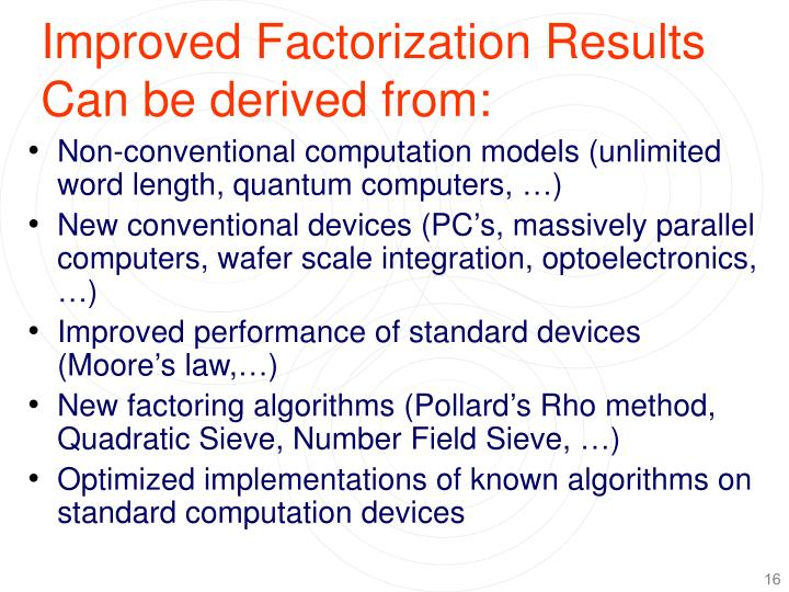 Improved Factorization Results