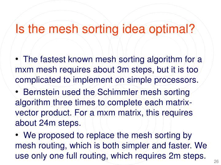 Is the mesh sorting idea optimal?